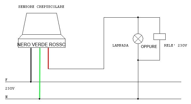 Schema Elettrico Crepuscolare : Interruttore crepuscolare v esterno regolazione soglia
