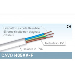 Matassa cavo elettrico da 10 metri 3G 2,5 mmq colore bianco Electraline 11841