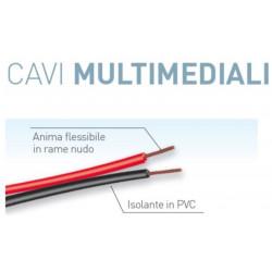 Strang des Multimedia-Kabels 50 Meter 2x0,75 mmq rot / schwarz Electraline 10839