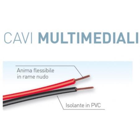 Matassa cavo multimediale da 50 metri 2x0,75 mmq rosso/nero Electraline 10839
