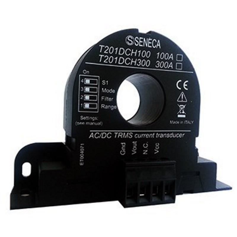 Trasformatore corrente AC/DC (±100A) effetto Hall TRMS uscita 0..10 V T201