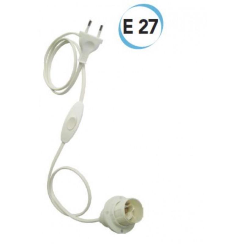 Portalampada  bipolare  cablato E 27 entrata cavo dal fondo Electraline 70523