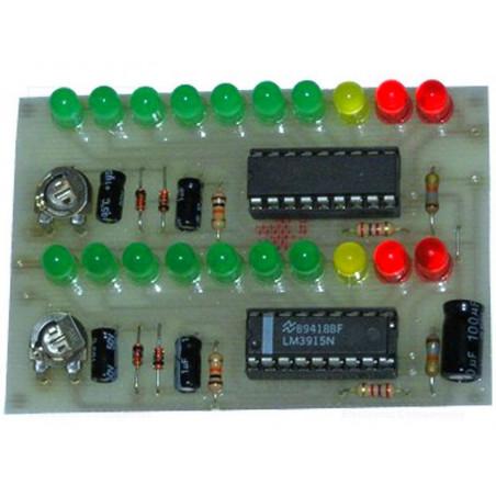 KIT Indicatore livello sonoro VU Meter Stereo 10+10 LED LM3915 12V DC