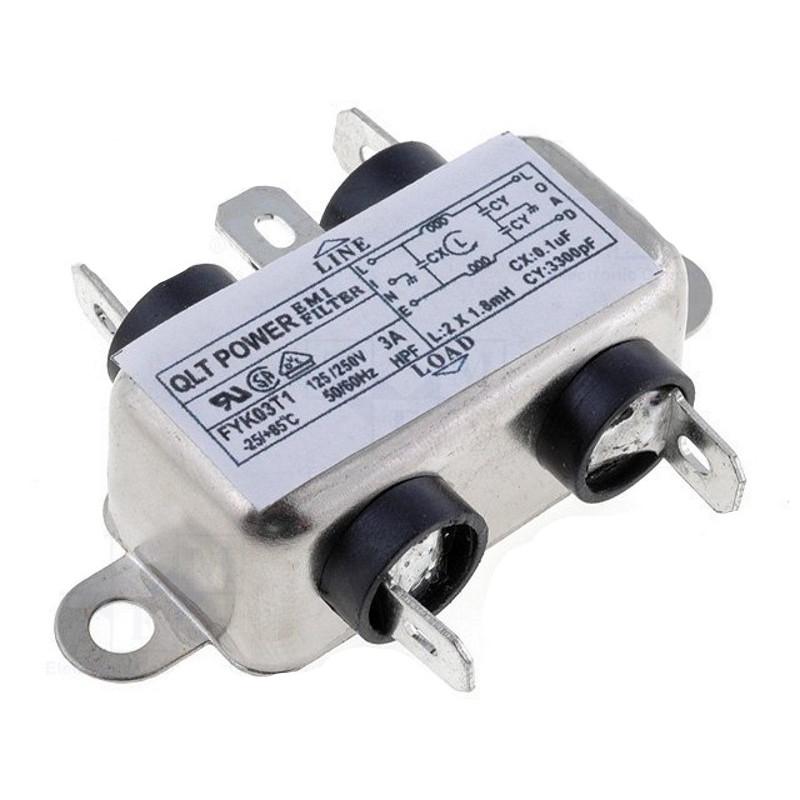 Filtro di rete antidisturbo EMI per dispositivi elettrici elettronici 250V 3A