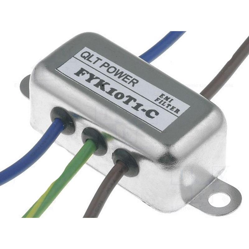 Filtro de red antiinterferencias EMI 250V 10A con terminales en cable eléctrico