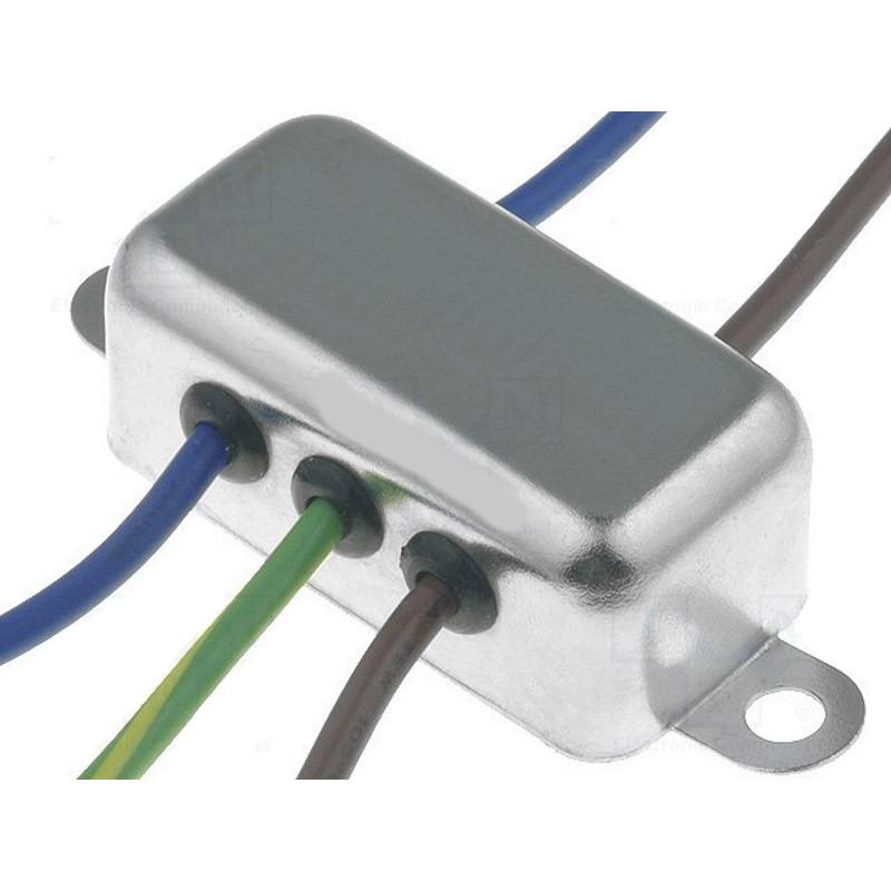 Filtro di rete antidisturbo EMI 250V 6A con terminali su cavo elettrico