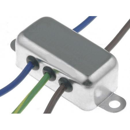 Filtro de red antiinterferencias EMI 250V 6A con terminales en cable eléctrico