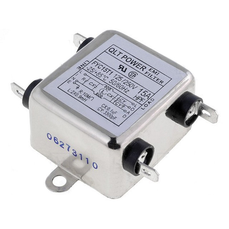 EMI anti-interference mains filter for electronic electrical devices 250V 15A