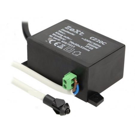 Interruttore sensore crepuscolare 230V 2000W con sensore discreto su foro murale