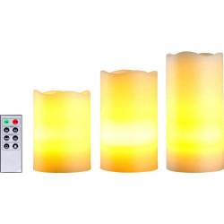 KIT da 3 Candele di cera LED Avorio bianco caldo a batteria con telecomando