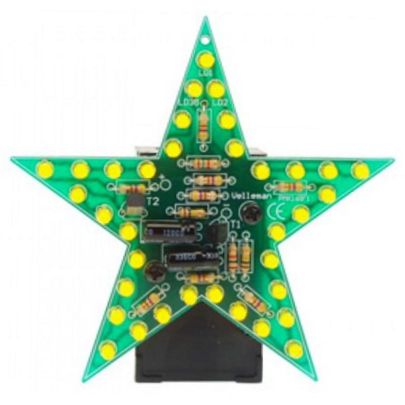 MONTATO Stella lampeggiante a 35 LED gialli a batteria 9 12V DC