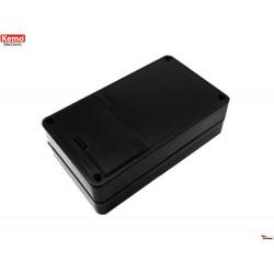 Boîtier en plastique noir 123x72x39 mm ouverture 4 vis avec compartiment pile 6V ou 9V