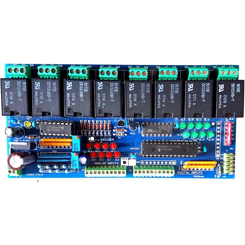 MONTATO Shield I/O expander SPI 8I8O digitali 8 analogici Arduino Raspberry  MCU