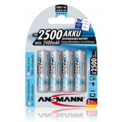 4 pcs Rechargeable Ni-MH MaxE Battery, Size: Stylus, AA, 1.2V 2500mAh Preloaded