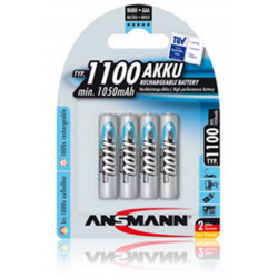 Blister pack of 4 Ansmann AAA, HR03, Ni-MH 1100 mAh 1.2V rechargeable batteries