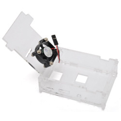 TRANSPARENT CASE CONTAINER WITH FAN FOR RASPBERRY PI 3 and 2