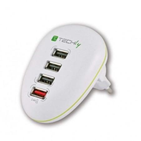 Alimentatore USB 4 porte switching stabilizzato 5VDC 2,5A per Tablet, Smarphone
