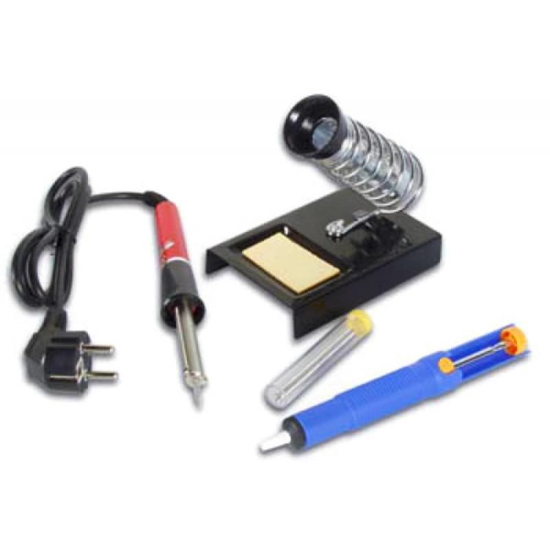 Set per saldatura elettronica stagno, saldatore, supporto con spugna, pompetta