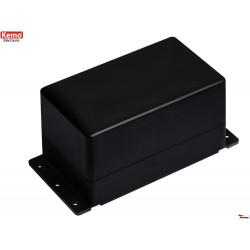Black plastic container 122x72x66 mm 4 screws half eurocard wall fixing