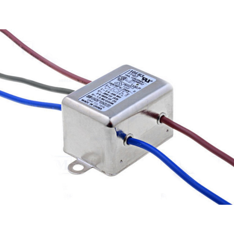 Filtro rete antidisturbo EMI 250V 10A terminali cavo elettrico bassa dispersione