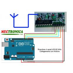 Arduino drahtlose 4-Kanal-Funkfernbedienung mit 433,92 MHz und Fernbedienung