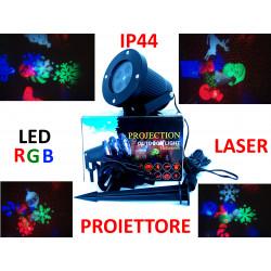 PROIETTORE MURO GIOCHI IMMAGINI + STELLE con LASER + LED RGBW DA ESTERNO