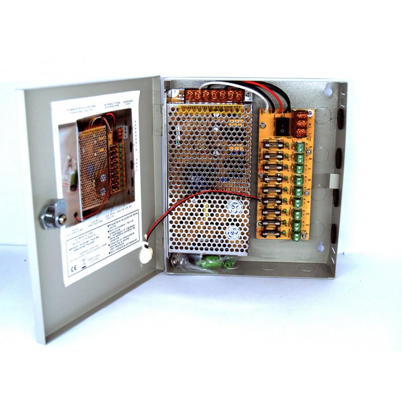 Alimentatore centralino 9 canali 12V per videosorveglianza o dispositivi a 12VDC