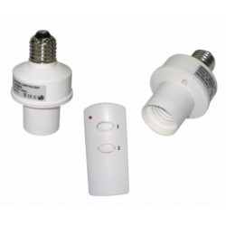 2 Radio controlled wireless dimmer switches for E27 bulb with remote control