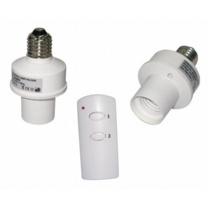 2 Interruttori dimmer wireless radiocomandati per lampadina E27 con telecomando