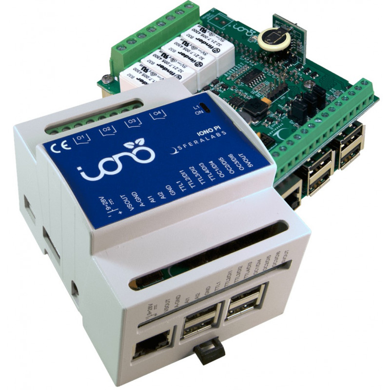 IONO PI - KIT SHIELD I/O analogico digitale relè + CASE DIN per RASPBERRY PI 2, 3