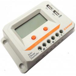 Controlador de carga de batería solar 12 / 24V 20A PWM display 2 salidas USB 2A