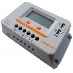 Controlador de carga de batería solar 12 / 24V 30A PWM display 2 salidas USB 2A
