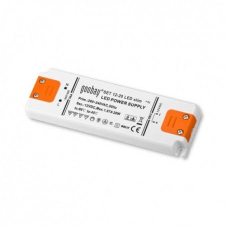 Alimentatore switching Led 12V DC 20W per strisce barre luci Led (0.5W-20W) incapsulato