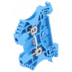 Serrafilo 24A 2.5mm2 800V a guida barra DIN modulo 2 morsetti blu morsetto vite