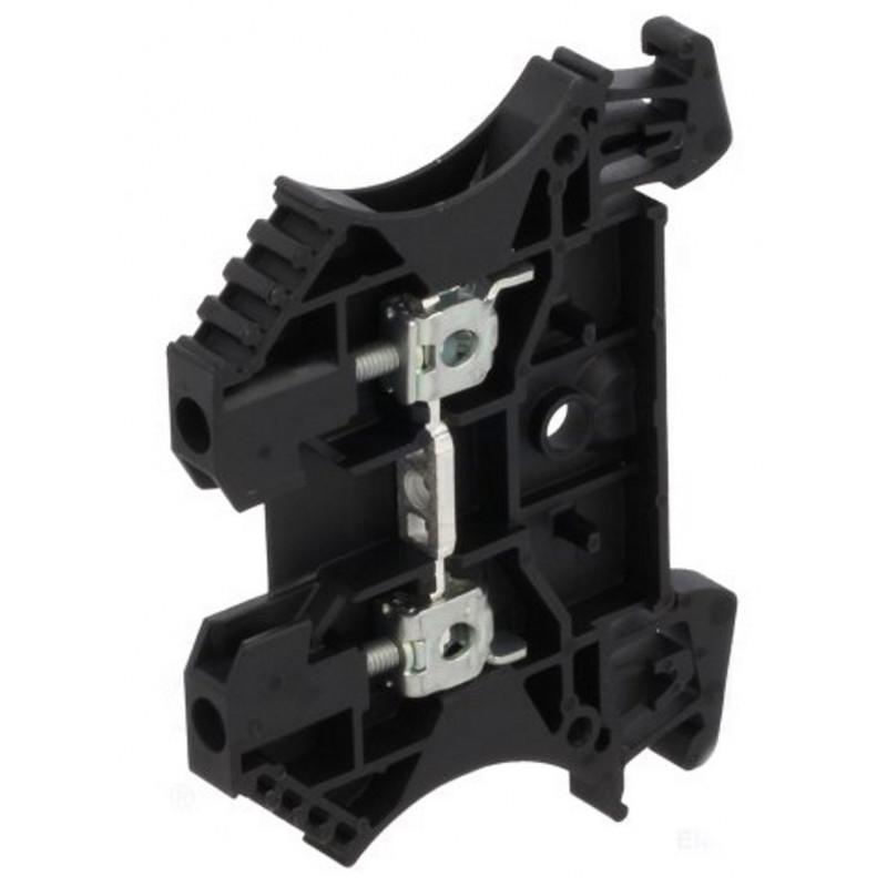 Serrafilo 24A 2.5mm2 800V a guida barra DIN modulo 2 morsetti nero morsetto vite