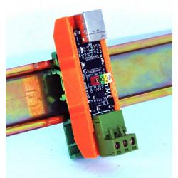 Convertidor USB RS485 autoalimentado con conmutación automática y soporte para carril DIN