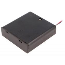 Contenitore porta batterie coperchio misura 4 x AA R6 uscita conduttori 150mm
