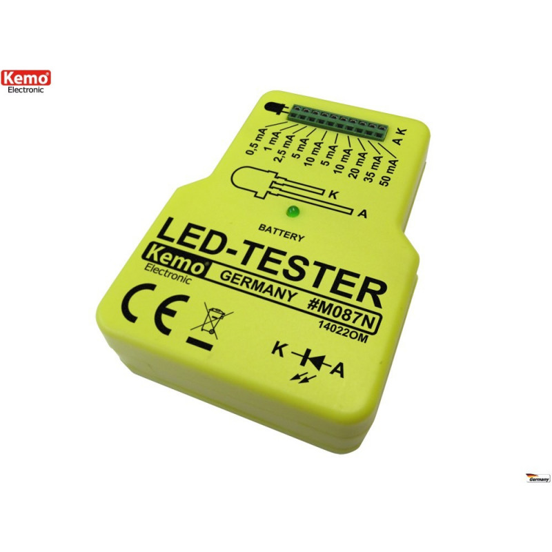 Battery powered constant current LED diode tester