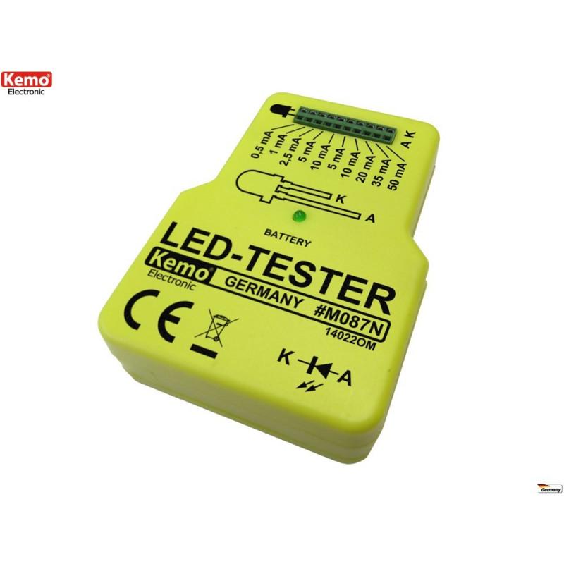 Probador de diodos LED de corriente constante alimentado por batería