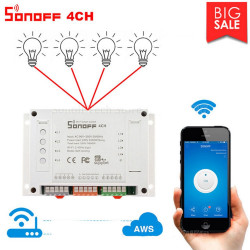 Sonoff 4CH Smart Switch Relè WiFi 230V 10A controllo 4 dispositivi elettrici