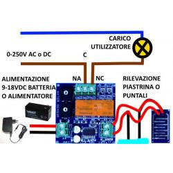 Sensore pioggia acqua anti allagamento multiuso 12V DC relè 16A 230V piastrina