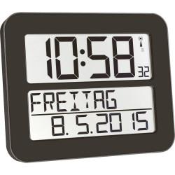 Orologio LCD gigante Radiocontrollato TFA parete 258 mm x 212 mm x 30 mm Nero
