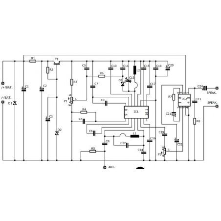 FM radio tuner receiver KIT 87 - 108 MHz 9V DC 0.7W audio output