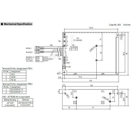 Fuente de alimentación conmutada 13,8V 5,4A SCP-75-12 UPS batería BACKUP