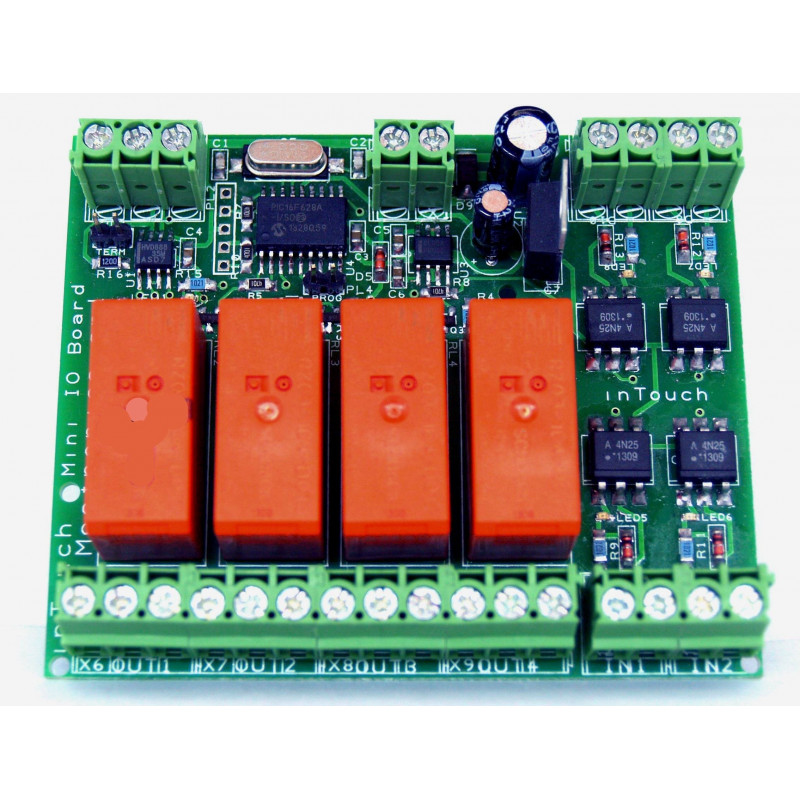 MB bus Mini IO Device - 4 inputs + 4 outputs on RS485 bus with 32 connectable devices