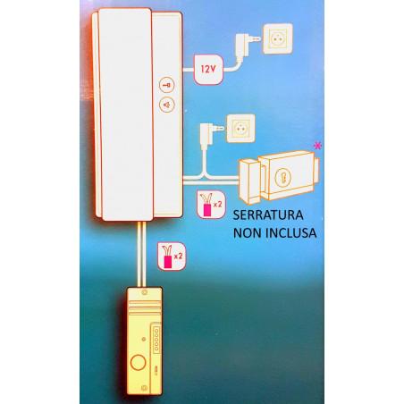 KIT citofono a 2 fili con unità esterna, cornetta interna e alimentatore Avidsen