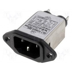 EMI anti-interference mains filter on male plug IEC 60320 C14 E 250V 10A