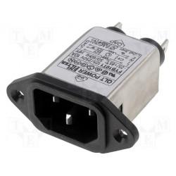 Filtre secteur anti-interférence EMI sur fiche mâle CEI 60320 C14 E 250V 10A