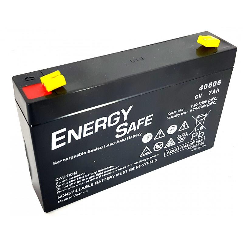 Batteria al piombo ricaricabile ermetica AGM VLRA 6V 7Ah uso ciclico e standby