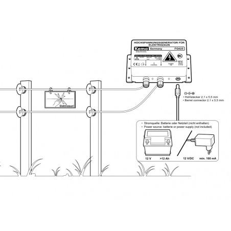 Generador impulsivo de alto voltaje para vallas disuasorias para animales pequeños